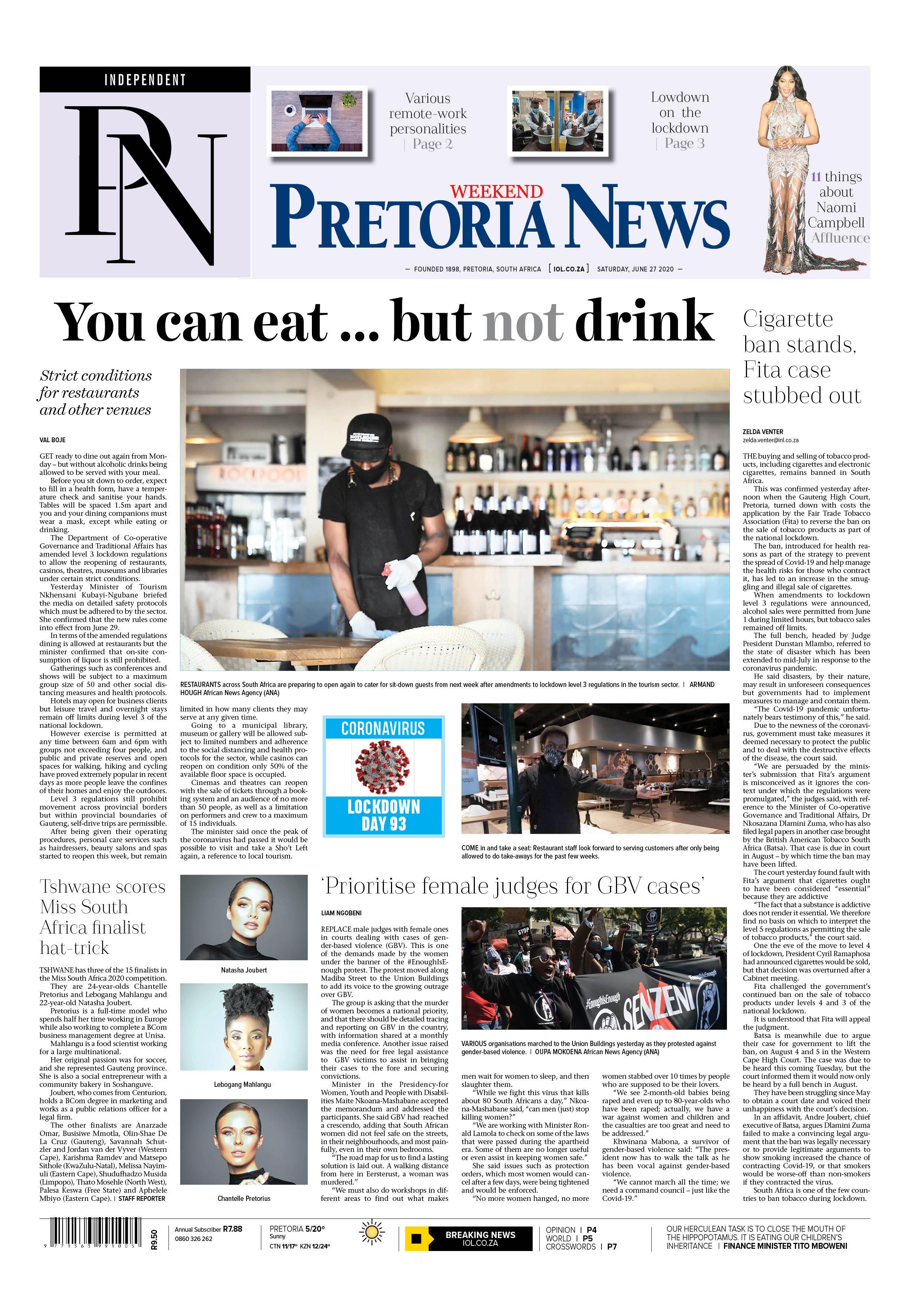 Pretoria News Weekend June 27 2020